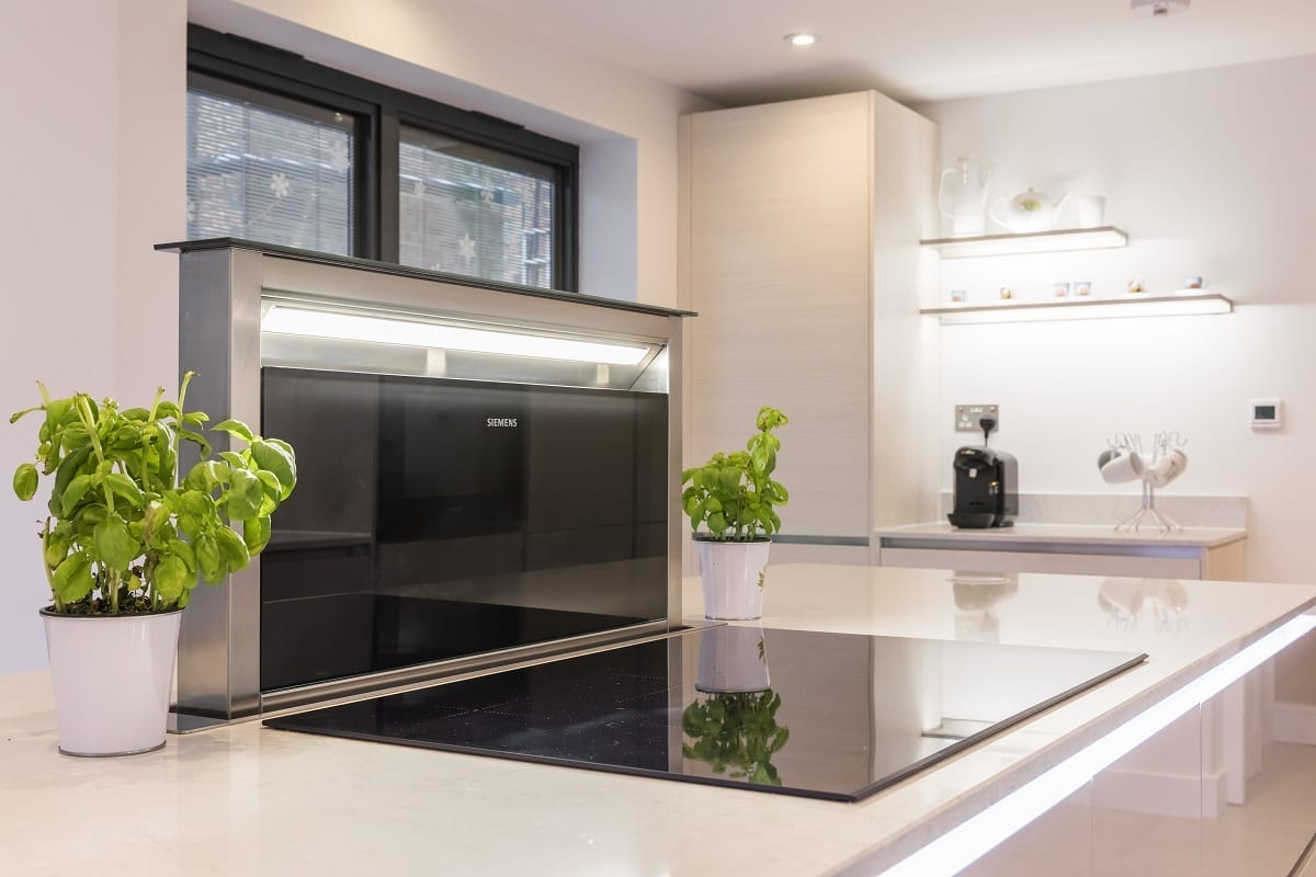 Open Downdraft Extractor Fan And Induction Hob | Alm Studios