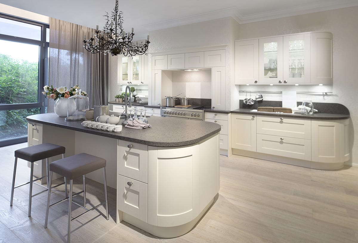 4. Cream Curved Shaker Kitchen With Island | Alm Studios