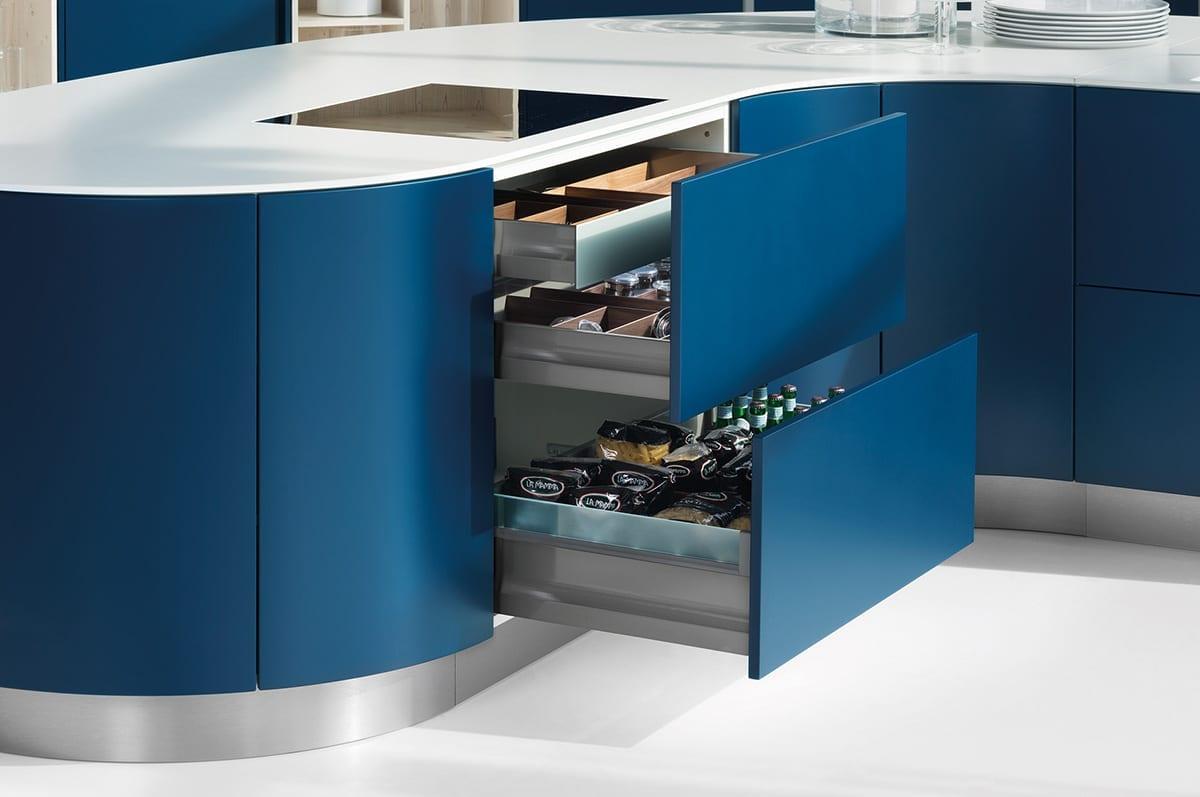 5. Curved Midnight Blue Matt Satin Lacquer Kitchen Units | Alm Studios