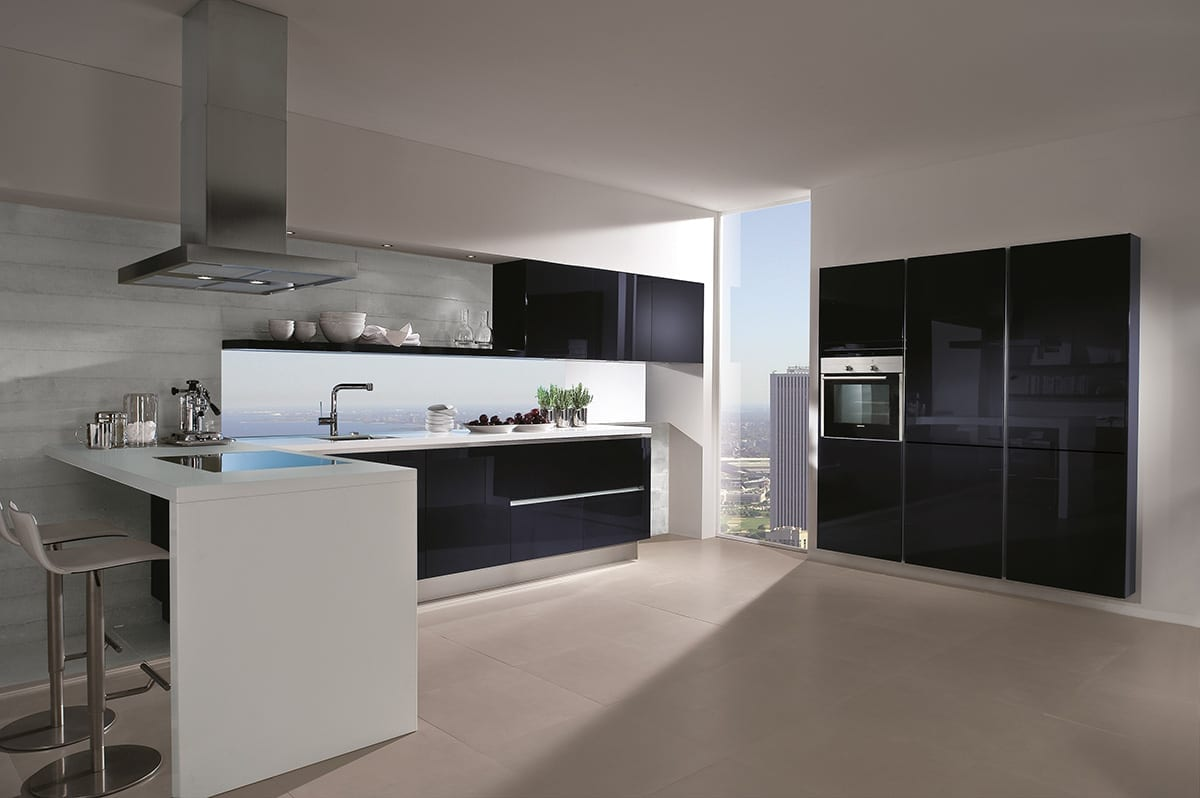 7. Blackberry high gloss glass kitchen with breakfast bar 1200 - Net Kitchens Direct, Walthamstow