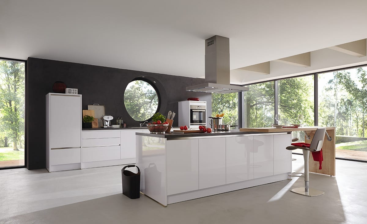 1.Polar white gloss lacquer laminate kitchen Copy 1200 - Hadley Kitchens, Leamington Spa