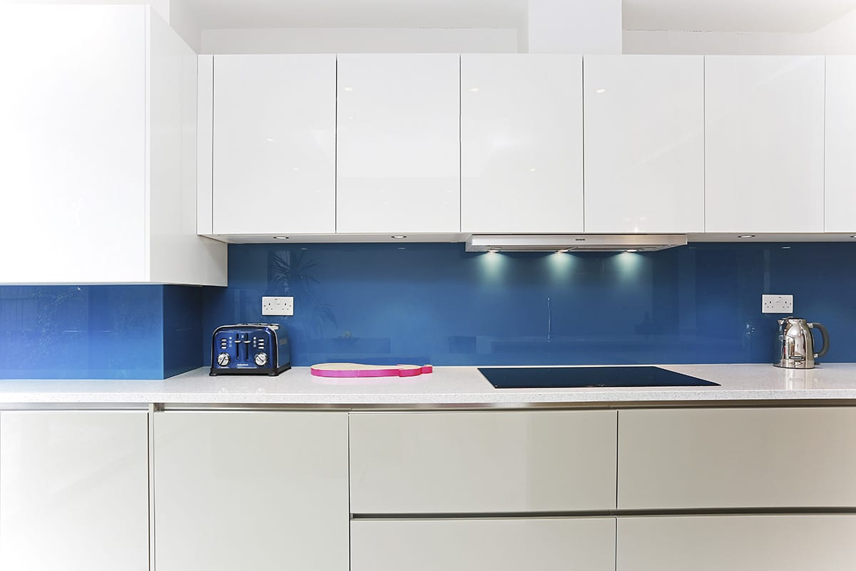 Topaz Blue Glass Splashback 2 - Hadley Kitchens, Leamington Spa