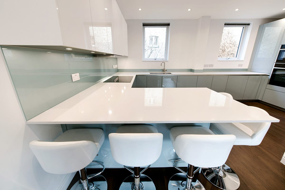 White Quartz Worktop 2 - Alon Interiors, Larkfield